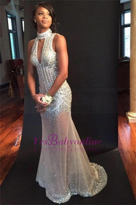 Sequins Halter Sheer-Tulle Sexy Open-Back Crystals Sleeveless Keyhole Mermaid Evening Dress_1