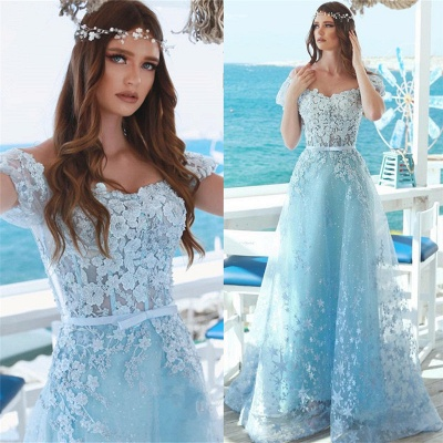 Off The Shoulder Lace Appliques Prom Dresses | Baby Blue Cheap Long Evening Dresses 2019_3