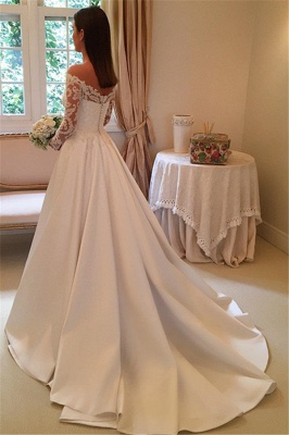 Detachable-Train Off-the-Shoulder A-Line Modern Long Sleevess Wedding Dresses_3