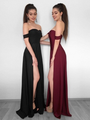 Sexy High Slit Evening Gowns | Off-the-Shoulder Formal Dresses_1