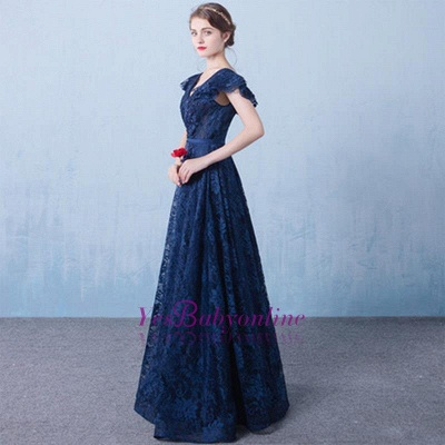 Elegant Dark Navy Prom Dresses Lace Beading V-Neck Ruffles Sleeves A-line Evening Gowns_1