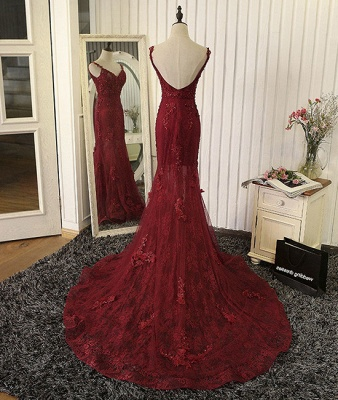 2019 Burgundy Mermaid Prom Dresses Straps Lace Appliques Open Back Evening Gowns_3
