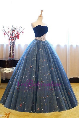 Exquisite Sweetheart Pearls Puffy Embroidery Prom Dresses_1