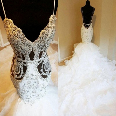 Luxury Spaghetti Strap Crystal Fit And Flare Ruffles Mermaid Wedding Dresses_3