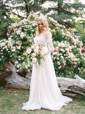 A-Line Chiffon Lace Two-Pieces Long Sleevess High Neck Wedding Dress_1