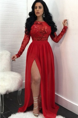 Sexy Open Back Long Sleeves Prom Dresses | Side Slit Scoop Evening Dresses_4