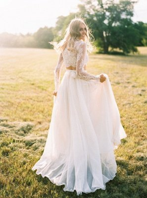 A-Line Chiffon Lace Two-Pieces Long Sleevess High Neck Wedding Dress_4