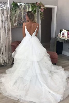 Spaghetti Strap V Neck Backless Tiered Tulle A Line Wedding Dresses_2