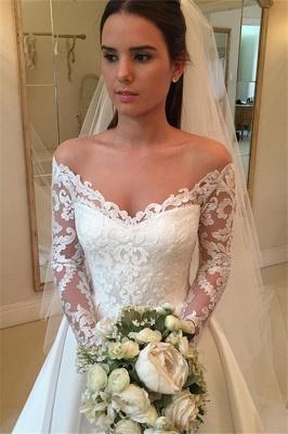Detachable-Train Off-the-Shoulder A-Line Modern Long Sleevess Wedding Dresses_4