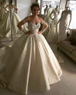 Glamorous Long Sleeves A-line Lace Wedding Dresses_2