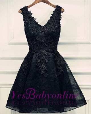 Black Lace Beaded Homecoming Dresses | A-line Short Prom Dresses_1