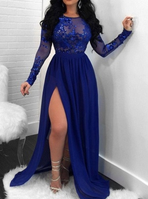 Sexy Open Back Long Sleeves Prom Dresses | Side Slit Scoop Evening Dresses_1