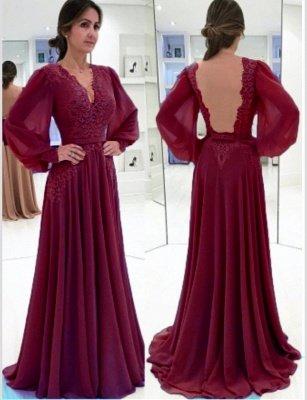 Lace Long-Sleeves V-neck Bow  Elegant Evening Dress_3