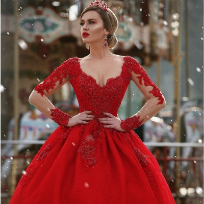 Glamorous Long sleeves Princess Ball Gown Appliques wedding dresses_3