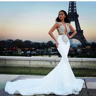 Prom Dresses Sheer white long Mermaid satin_3