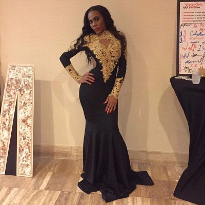 Gold Appliques High Neck Prom Dresses | Long Sleeves Black Mermaid Dress_3