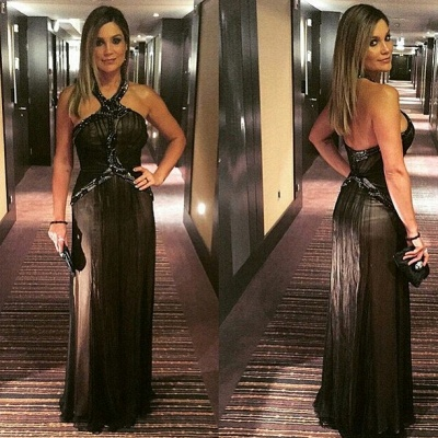Zipper Halter Floor-length A-line Beading Black Evening Dress_3