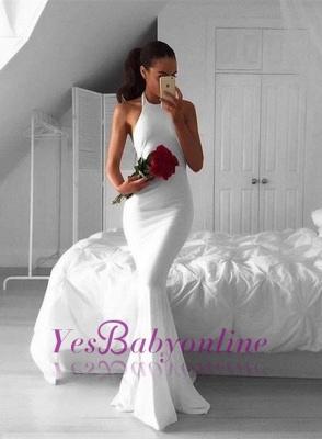 Sweep-Train White Sexy Mermaid Halter Sexy Sleeveless Prom Dress_1