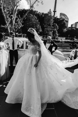 Off the Shoulder Lace Ball Gown Wedding Dresses | Cheap Bridal Gowns_2