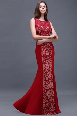 Floor-Length Red Sexy Mermaid Sleeveless Lace Long Zipper Evening Gown_3