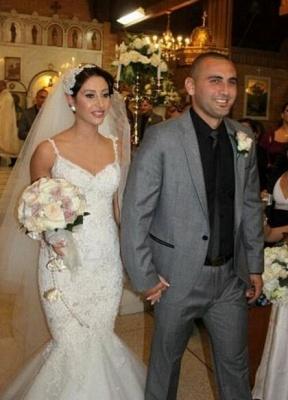 Spaghettis Straps Lace Beading Backless Mermaid Wedding Dress_1