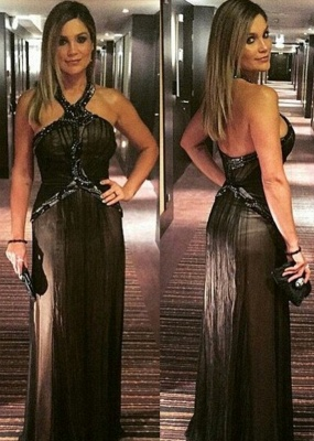 Zipper Halter Floor-length A-line Beading Black Evening Dress_2