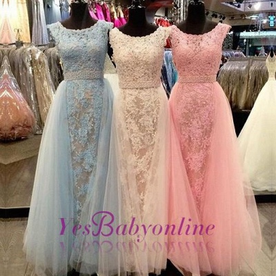 Elegant Lace Prom Dresses Scoop Neck with Overskirts Beading Belt Wedding Guest Dresses_1