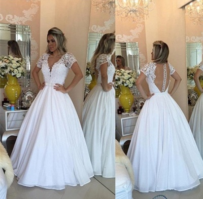 Crystal White Short-Sleeves Lace V-Neck Bowknot Sheer Prom Dress_3