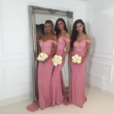 Beads Lace Off The Shoulder Cheap Bridesmaid Dress | Open Back Sexy Pink Maid of Honor Dresses BA9882_5