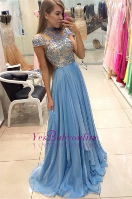 A-line Long  Romantic High-Neck Crystals Sky-Blue Prom Dresses_1
