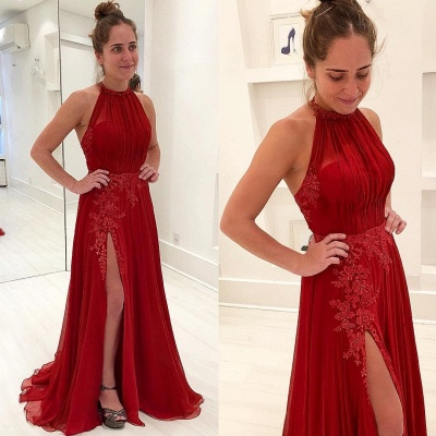 Sexy  Sleeveless Evening Gowns | Appliques Halter Split Prom Dresses_3