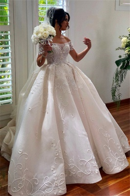 Off the Shoulder Lace Ball Gown Wedding Dresses | Cheap Bridal Gowns_1