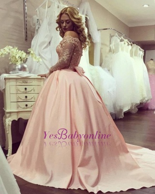 Off-the-Shoulder Long-Sleeves Gold-Lace Ball-Gown Bowknot Prom Dresses BA4764_1