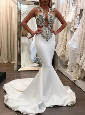 Prom Dresses Sheer white long Mermaid satin_2