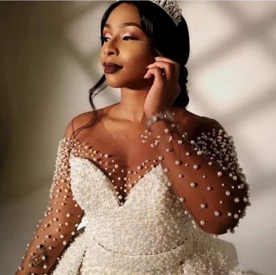 Elegant Jewel Long Sleeve Illusion Tulle Pearls Sash Sheath Wedding Dresses With Detachable Train_2