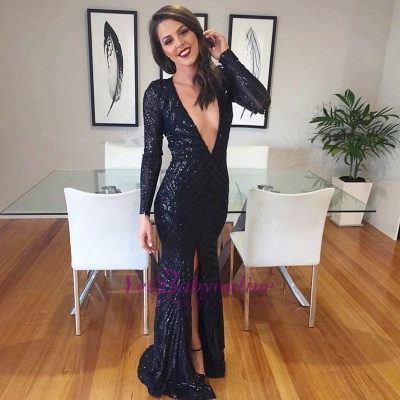 Sexy V-neck Black Prom Dresses | Luxurious Sequined Mermaid Evening Dresses_1