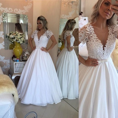 Crystal White Short-Sleeves Lace V-Neck Bowknot Sheer Prom Dress_4