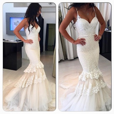 Delicate White Sexy Mermaid Wedding Dress | Lace Beaded Ruffles Bridal Dress_3