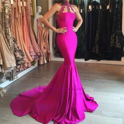 Lace-appliques Sweep-Train Modest Sleeveless Mermaid High-Neck Prom Dress_1