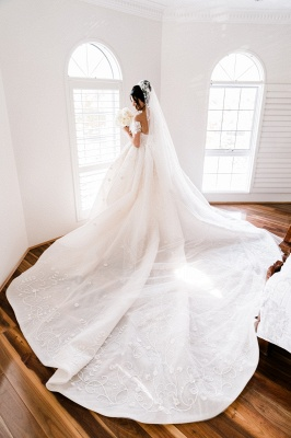 Off the Shoulder Lace Ball Gown Wedding Dresses | Cheap Bridal Gowns_3