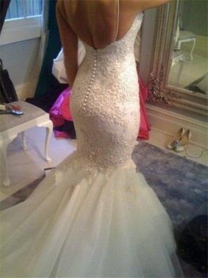 Spaghettis Straps Lace Beading Backless Mermaid Wedding Dress_3