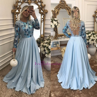 Lace Scoop Beaded A-Line Long-Sleeves Blue Evening Dress_1