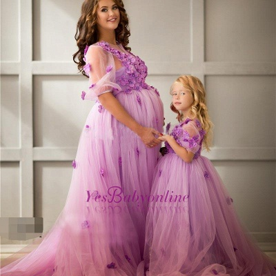 Half-Sleeves Appiluqes Sweep-Train Flowers Ball-Gowwn Tulle Maternity Evening Dress_1