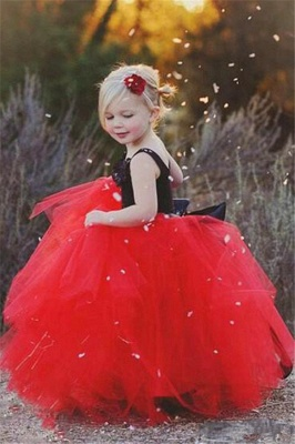 Red Black Flower Girl's Dresses Straps Ball Gown Cute Girl's Party Dresses_3