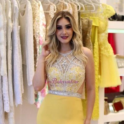 Sheath Brilliant Silt-Side Beading Sleeveless Jewel Yellow Prom Dreses_1