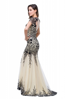 Elegant  Mermaid Short-Sleeves Appliques Prom Dress with Zipper_7