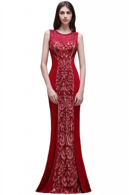 Floor-Length Red Sexy Mermaid Sleeveless Lace Long Zipper Evening Gown_2