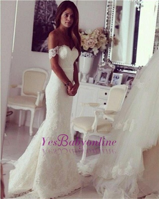Stylish Sweep Train Lace Off-the-shoulder Mermaid Wedding Dress_1