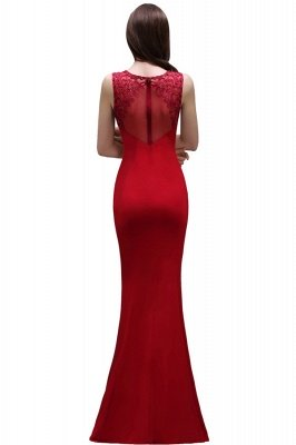 Floor-Length Red Sexy Mermaid Sleeveless Lace Long Zipper Evening Gown_6