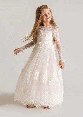 Lovely Tulle Lace A-line Long Sleeves Flower Girl Dress_1